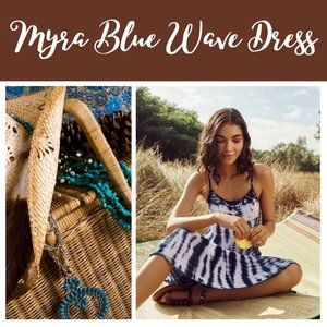 Myra Blue Wave Bohemian Tie Dye Dress